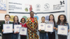 Mayor's Visual Arts Award winners with Deputy Mayor of Enfield Cllr. Kate Anolue at Barnet and Southgate College's Southgate Campus